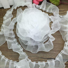 New 5Yrds 25mm  White Handmade Organza Pleated Trim Lace Ruffle Doll Flower LS95