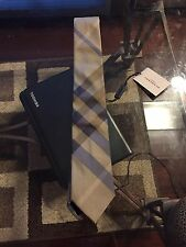New Authentic Burberry Nova Check Logo Men Tie Haymarket Goldish Blue Slim $220