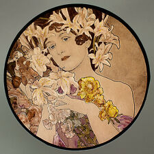 Mucha, Flower, glass painting, kilnfired stained glass, suncatcher, Mucha Flower