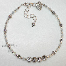 Personalised Any Name Daisy Chain AB Crystal Bride Anklet / Ankle Bracelet Gift