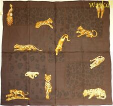 CARTIER Paris Brown Jeweled TIGERS & LEOPARDS silk Charmeuse scarf NEW Authentic