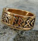 mass. Runen Ring Bronze 52-60 Mittelalter AR OK FRIDR Runenring Wikingerring