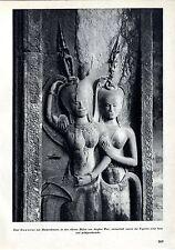 Kambodscha Angkor- Wat Zwei Dewatas mit Blumenkronen Tanzende Apsara Ost-...1939