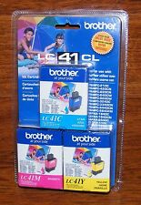 Genuine Brother (LC 41 CL) Cyan, Yellow, & Magenta Ink Cartridges *Sealed* READ