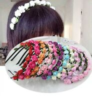 Rose Flower Head Boho Garlan Girl Beach Crown Elastic Hair Band Headband Wedding
