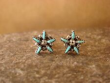 Zuni Indian Jewelry Sterling Silver Turquoise Star Post Earrings! Handmade