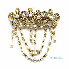 Boho Vintage Gold Flower Crystal & Pearl Hair Chains Barrette Clip Grip CL20