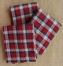Set of 3 Park Designs FAIRFAX Plaid Dishcloths - Red, Navy, Gray