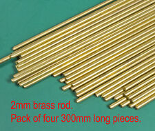 4 (four) X 2mm diameter round brass modellers wire rod - 300mm lengths.