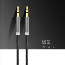 Black 3.5mm Male to Male Flat Stereo Audio AUX Cable Cord For MP3 Car iPhone 1M