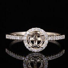 14K Yellow Gold Halo Diamond Semi-mount Engagement Wedding Ring Setting5mm Round