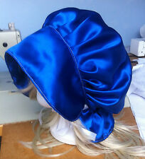 victorian edwardian adult baby fancy dress blue satin bonnet cap hat sissy maid