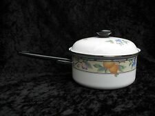 Mikasa Garden Harvest Intaglio 2 QT Metal Sauce Pan Cream Fruit Leaves CAC29