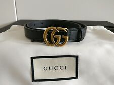 BN GUCCI 'leather belt with double g buckle' black antique gold skinny thin 70
