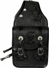 NEW WESTERN HORSE SADDLE BAG OR MOTORCYCLE SADDLE BAGS HAND TOOLED BLACK LEATHER