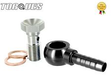 "7/16"" UNF Master Cylinder Push On BANJO Adapter and BOLT to 5/16"" 8mm Barb BLACK"