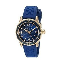 NEW NAUTICA ROSE GOLD+BLUE TONE,NAVY BLUE SILICONE BAND WATCH NAD13525L