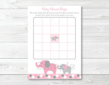 Pink and Gray Polka Dot Elephant Printable Baby Shower Bingo Cards
