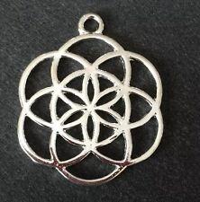 Tono argento rotonda Semi Di Vita Ciondolo a forma di fiore