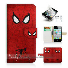 iPhone 4 4S Print Flip Wallet Case Cover! Spiderman Super Hero P0157