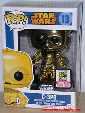 FUNKO POP STAR WARS 2015 SDCC CHROME GOLD C-3PO #13 Vinly Bobble-Head In Stock