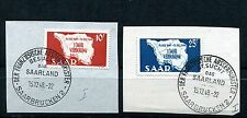 GERMANY SAAR 1948 SCOTT 201-202 MAP OF SAAR LOVEY FIRST DAY CANCELLED ON PIECES