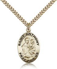 """Saint Anthony Of Padua Medal For Men - Gold Filled Necklace On 24"""" Chain - 30..."""