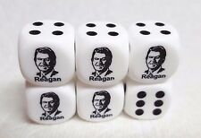 DICE - CHESSEX CUSTOM *RONALD REAGAN*.ON 16mm OP WHITE w/BLACK PIPS & #1 REAGAN!