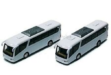 "Set of 2 x Kinsmart Coach Travel metro bus 7"" inch diecast model toy Plain White"