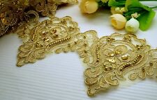 "5"" Beautiful Metallic Gold Embroidery Sequin Beaded Venise Lace Trim"