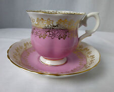 CROWN STAFFORDSHIRE,Pink,Gold Breakfast Cup & Saucer, H 102