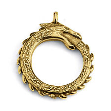 Ouroboros Dragon Eating Tail Pendant #Gold Plated Sterling Silver #Azaggi P0071G