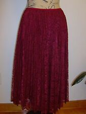 Talbots Gracie Pleated Lined Lace Skirt NWT Raspberry Size 16 $159