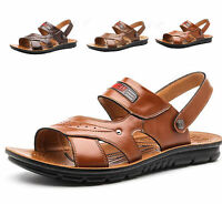 Men Summer Leather Sandals Casual Slingback Beach Shoes Slipper Mules