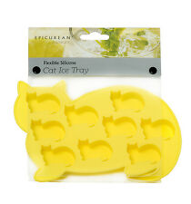 Epicurean Yellow Cat Silicone Ice Cube Tray Maker Mould Chocolate Novelty New