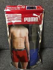 FREE SHIPPING! Men's PUMA Boxer Briefs 3 pack Athletic Fit - MEDIUM (Blue)