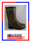 Gumboots Ladies Mid Length Leopard Size 6 7 8 9 10 11 Buckle Wellies Womens -New