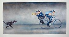 "LYNN POLAND ""SPARKY GIVES CHASE"" Hand Signed Limited Edition Giclee BICYCLE DOG"
