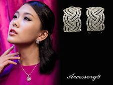 trends micro pave Cubic Zirconia 925 silver stud braid styles bride earrings A22