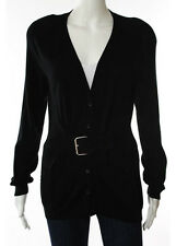 Moschino Black Cotton Long Sleeve V Neck Cardigan Sweater Size 8