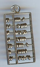 LARGE VINTAGE STERLING SILVER 3D ABACUS MOVABLE PARTS CHARM OR PENDANT