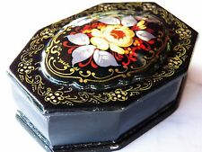 Russian PALEKH Miniature Hand-Painted LACQUER BOX Flowers SIGNED