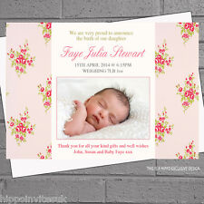 Personalised Rose Girl Baby Birth Announcement Thank you Cards x 12 H0760