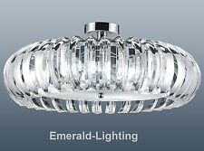ELSA CLEAR CRYSTAL PRISM CHROME FLUSHFITTING CEILING LIGHT DOUGHNUT PENDANT 63CM