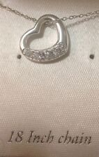 STERLING SILVER And Cubic Zirconia Floating Heart Pendant Necklace -NEW