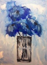 Acrylic on canvas blue vase abstract