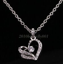 Women Silver White Chain Necklace With Crystal Heart Pendant For Wedding Gifts
