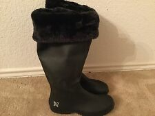 NEW~BUTTERFLY TWISTS Black Windsor Knit Cuff Foldable Rain Boot 37 Shoes