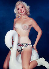 1950s Pinup Nude Sitting on Giant Swan 8 x 10 Photograph