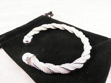 Silver Plated Spiral Twist Solid & Mesh Cuff / Bangle / Bracelet + Free Gift Bag